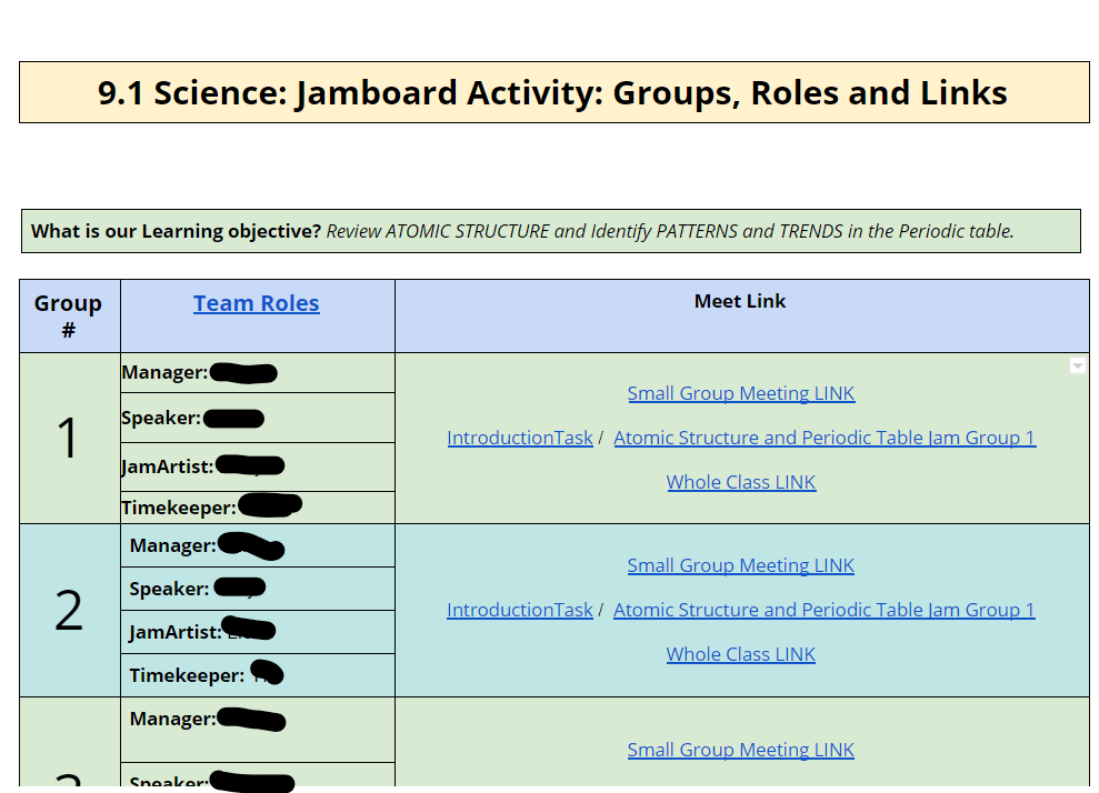 Google doc for organising the jamboard activity.